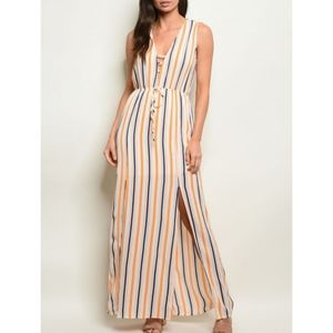 Orange Striped Maxi Dress